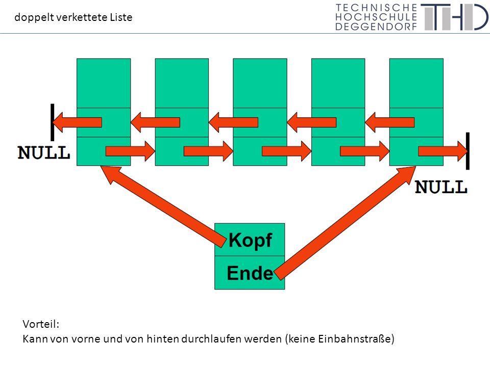 doppelt verkettete Liste Vorteil: Kann von vorne und von hinten durchlaufen werden (keine Einbahnstraße)