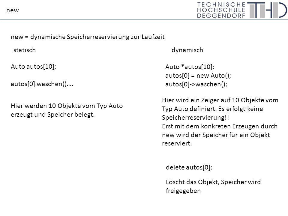 new new = dynamische Speicherreservierung zur Laufzeit Auto autos[10]; autos[0].waschen()….