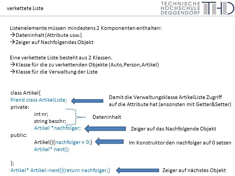 verkettete Liste Listenelemente müssen mindestens 2 Komponenten enthalten:  Dateninhalt (Attribute usw.)  Zeiger auf Nachfolgendes Objekt Eine verkettete Liste besteht aus 2 Klassen.