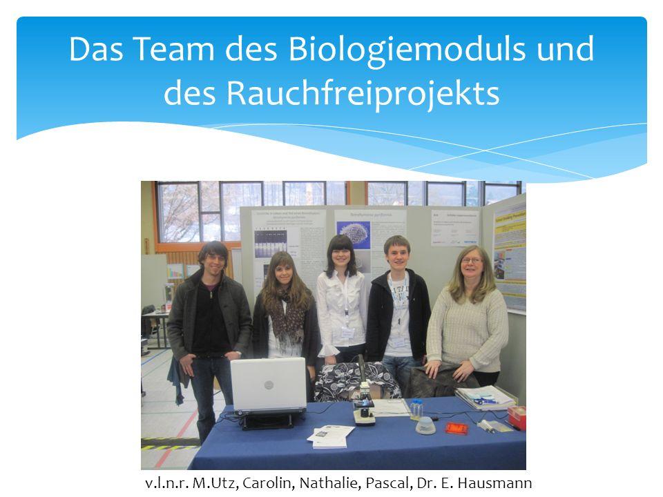 Das Team des Biologiemoduls und des Rauchfreiprojekts v.l.n.r.