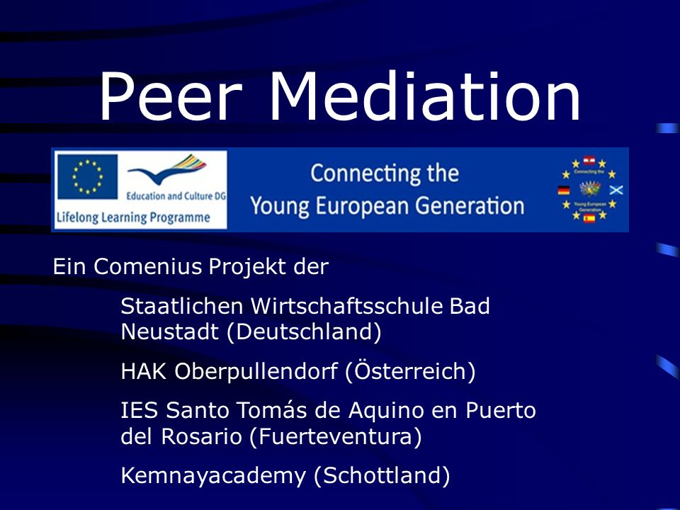 Aims of Peer Mediation - develop an awareness of justice - self-responsibility - encourage social skills - provides more teaching time for teachers