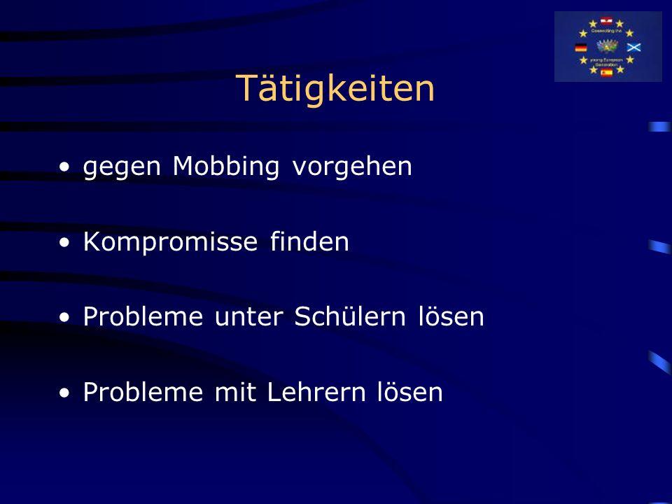 Tätigkeiten gegen Mobbing vorgehen Kompromisse finden Probleme unter Schülern lösen Probleme mit Lehrern lösen