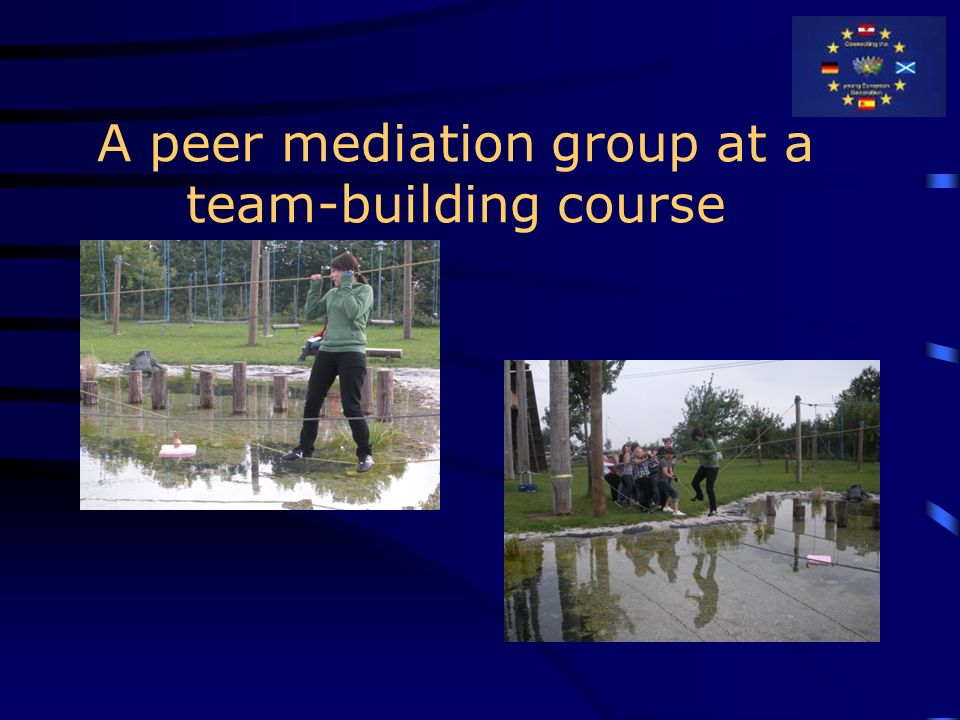 A peer mediation group at a team-building course