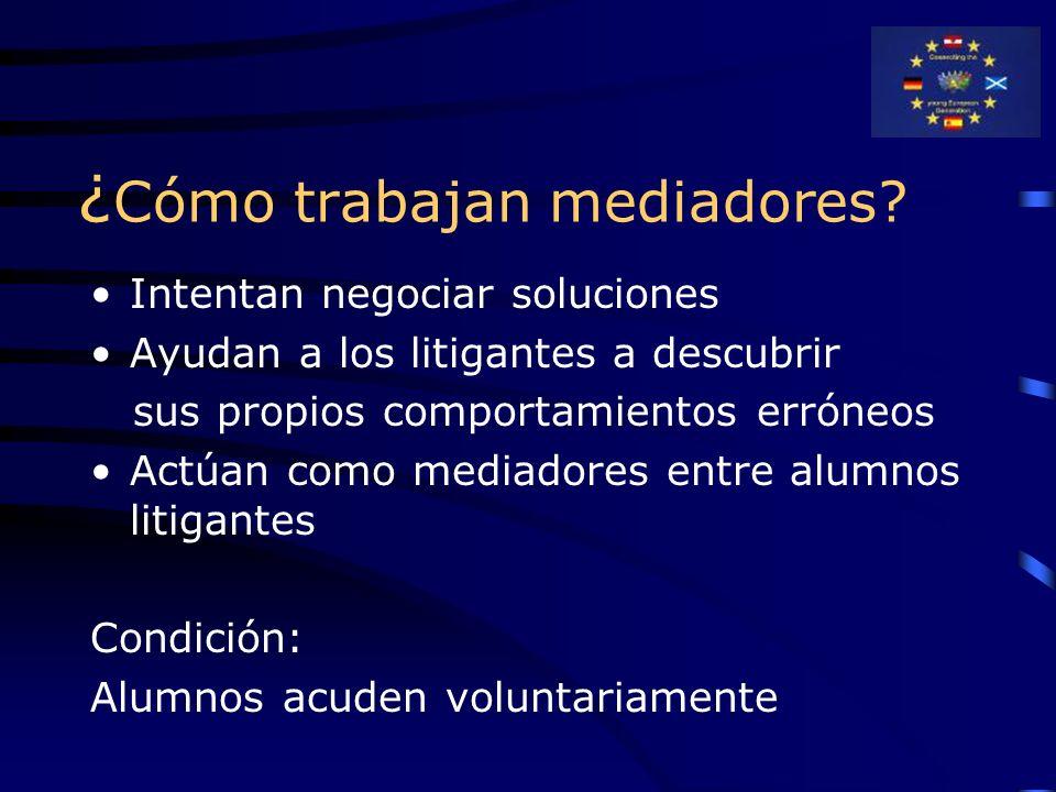 ¿ Cómo trabajan mediadores? Intentan negociar soluciones Ayudan a los litigantes a descubrir sus propios comportamientos erróneos Actúan como mediador