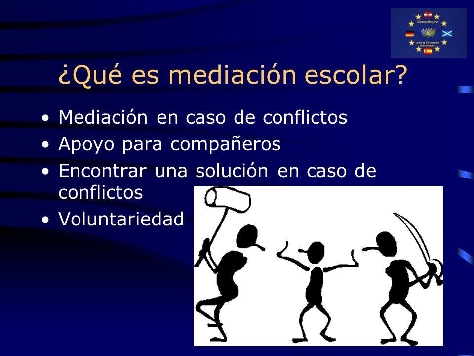 ¿ Qué es mediación escolar? Mediación en caso de conflictos Apoyo para compañeros Encontrar una solución en caso de conflictos Voluntariedad