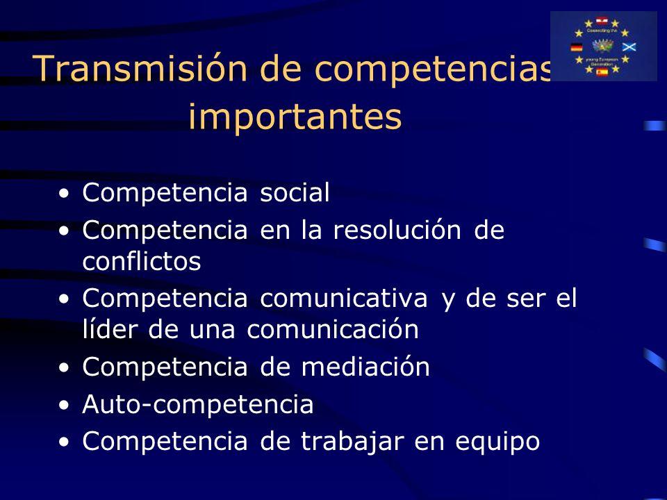 Transmisión de competencias importantes Competencia social Competencia en la resolución de conflictos Competencia comunicativa y de ser el líder de una comunicación Competencia de mediación Auto-competencia Competencia de trabajar en equipo