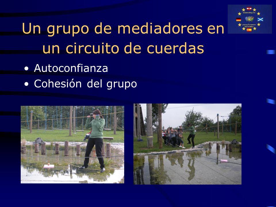 Un grupo de mediadores en un circuito de cuerdas Autoconfianza Cohesión del grupo