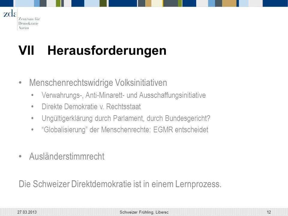 VIIHerausforderungen Menschenrechtswidrige Volksinitiativen Verwahrungs-, Anti-Minarett- und Ausschaffungsinitiative Direkte Demokratie v.