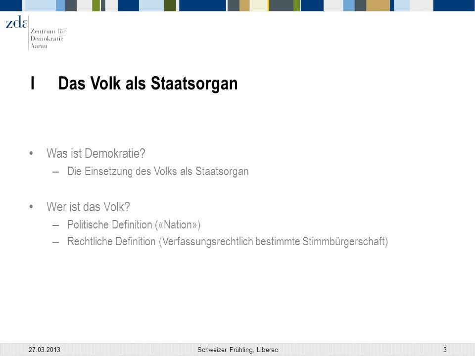27.03.2013Schweizer Frühling, Liberec3 I Das Volk als Staatsorgan Was ist Demokratie.