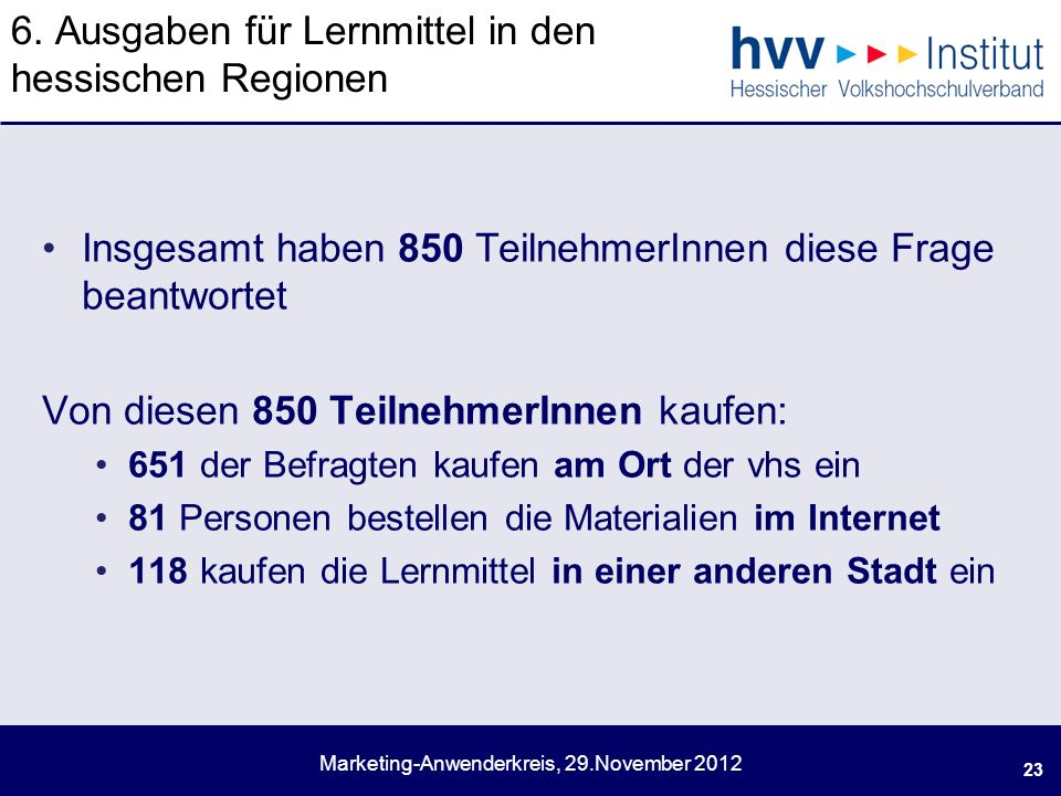Marketing-Anwenderkreis, 29.November
