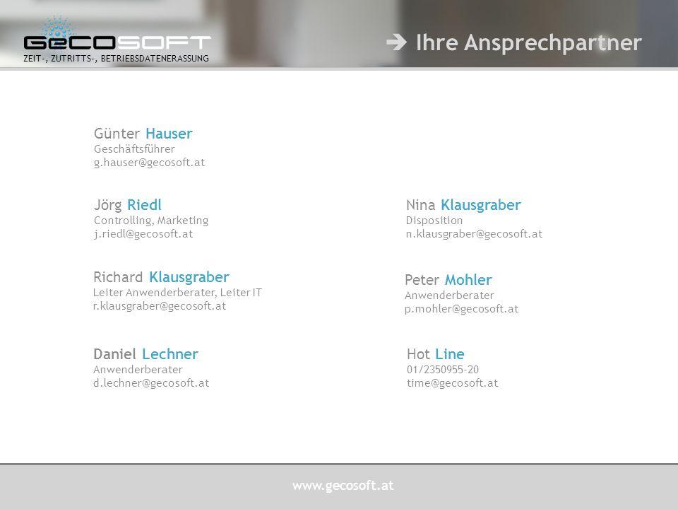 www.gecosoft.at ZEIT-, ZUTRITTS-, BETRIEBSDATENERASSUNG Betreuung von ca.