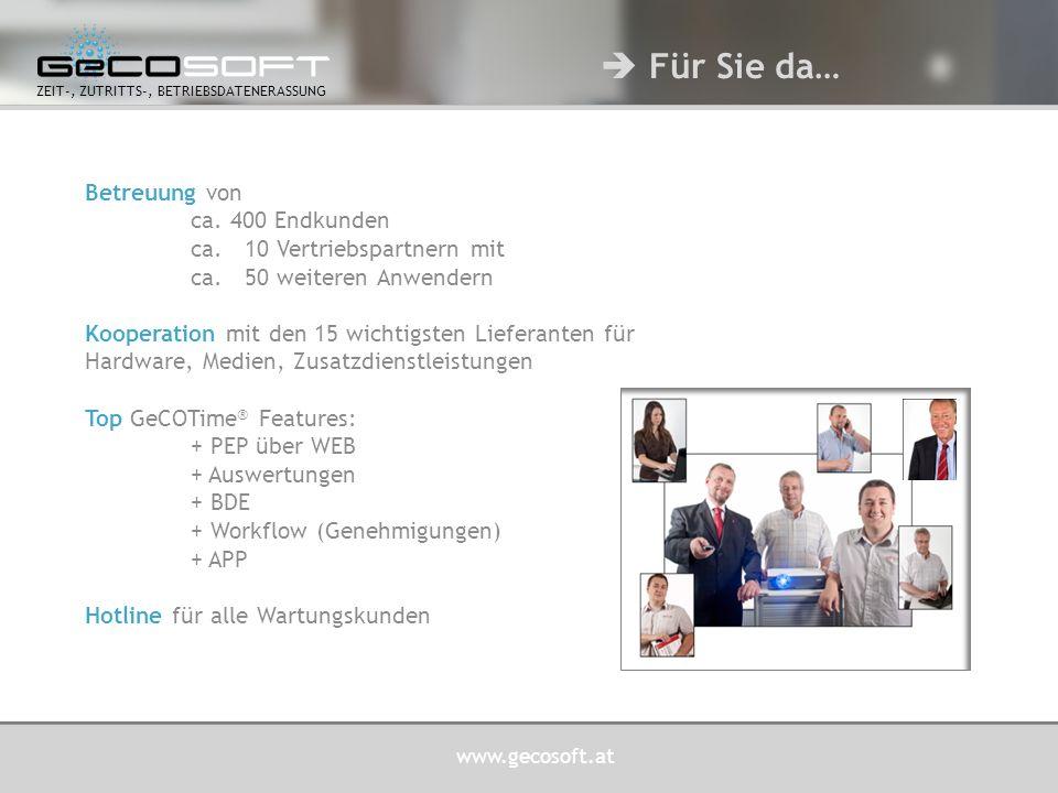 www.gecosoft.at ZEIT-, ZUTRITTS-, BETRIEBSDATENERASSUNG Project:D  TOP Partner