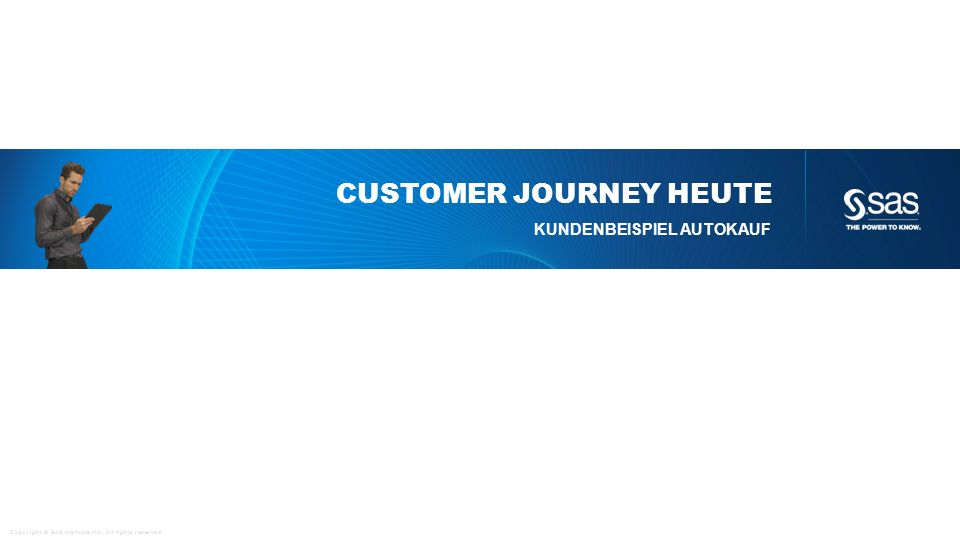 Copyright © SAS Institute Inc. All rights reserved. CUSTOMER JOURNEY HEUTE KUNDENBEISPIEL AUTOKAUF