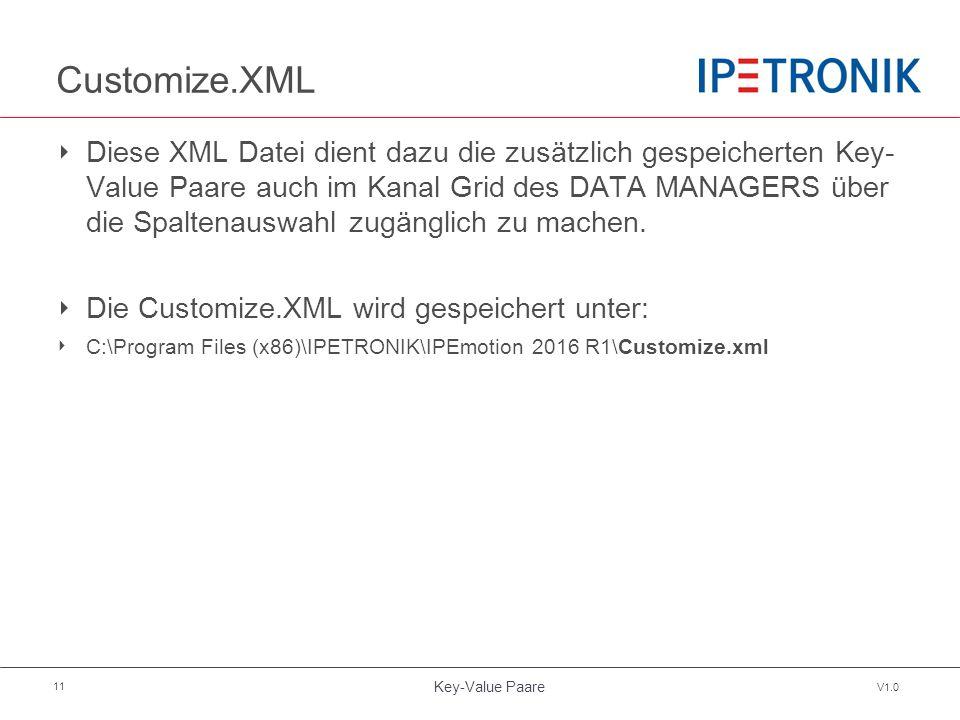 Key-Value Paare V1.0 11 Customize.XML ‣ Diese XML Datei dient dazu die zusätzlich gespeicherten Key- Value Paare auch im Kanal Grid des DATA MANAGERS über die Spaltenauswahl zugänglich zu machen.