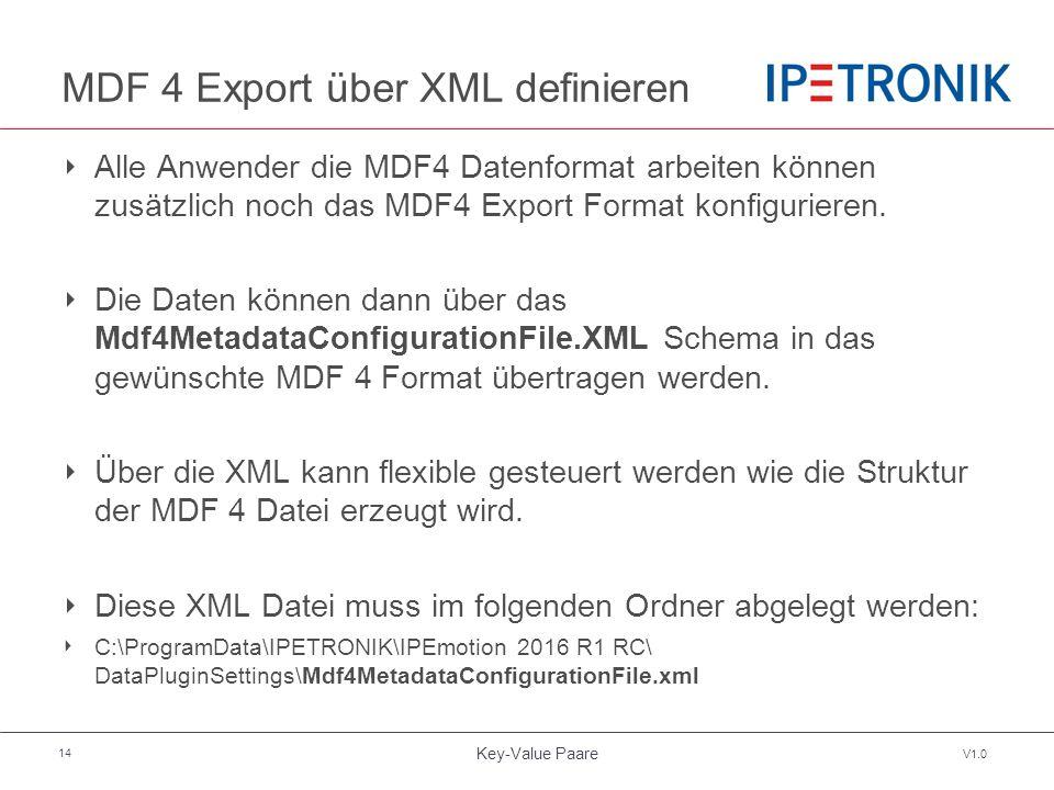 Key-Value Paare V1.0 14 MDF 4 Export über XML definieren ‣ Alle Anwender die MDF4 Datenformat arbeiten können zusätzlich noch das MDF4 Export Format konfigurieren.