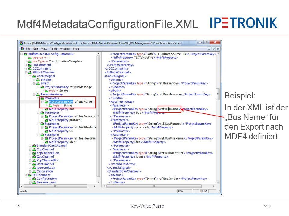 """Key-Value Paare V1.0 15 Mdf4MetadataConfigurationFile.XML Beispiel: In der XML ist der """"Bus Name"""" für den Export nach MDF4 definiert."""