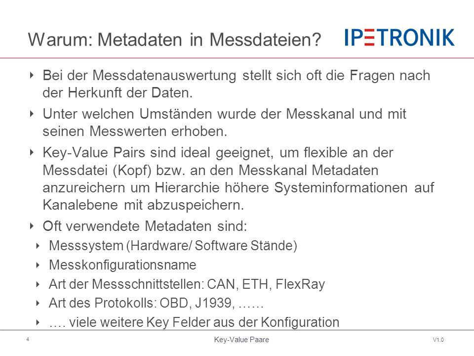 Key-Value Paare V1.0 5 Daten Hierarchie Logger Schnittstelle Protokoll Kanal Name Beschreibung Skalierung Einheit ….