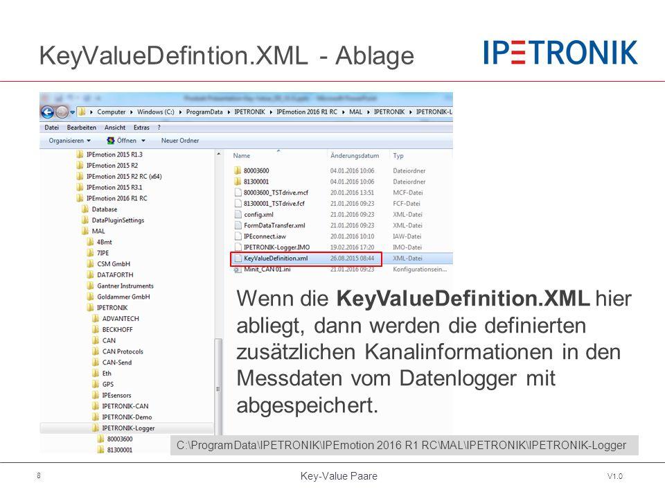 Key-Value Paare V1.0 8 KeyValueDefintion.XML - Ablage Wenn die KeyValueDefinition.XML hier abliegt, dann werden die definierten zusätzlichen Kanalinformationen in den Messdaten vom Datenlogger mit abgespeichert.