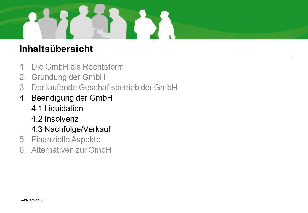 Seite 32 von 50 Inhaltsübersicht 1.Die GmbH als Rechtsform 2.Gründung der GmbH 3.Der laufende Geschäftsbetrieb der GmbH 4.Beendigung der GmbH 4.1 Liqu