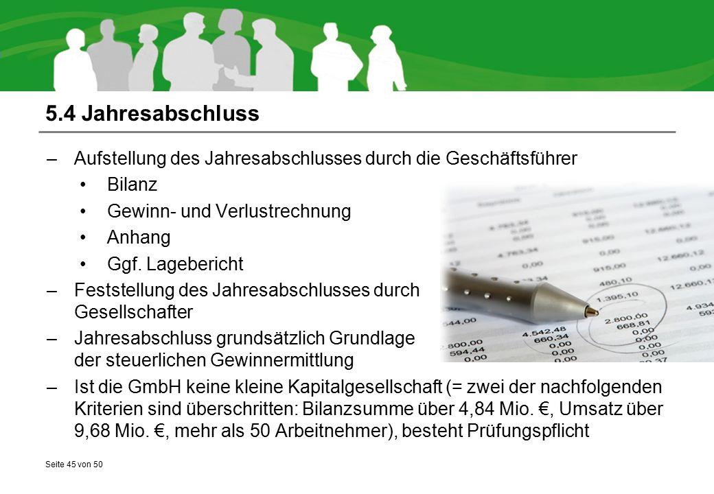 Seite 45 von 50 5.4 Jahresabschluss –Aufstellung des Jahresabschlusses durch die Geschäftsführer Bilanz Gewinn- und Verlustrechnung Anhang Ggf. Lagebe