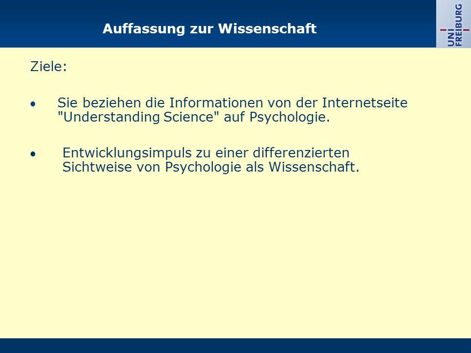 Auffassung zur Wissenschaft Ziele: Sie beziehen die Informationen von der Internetseite Understanding Science auf Psychologie.