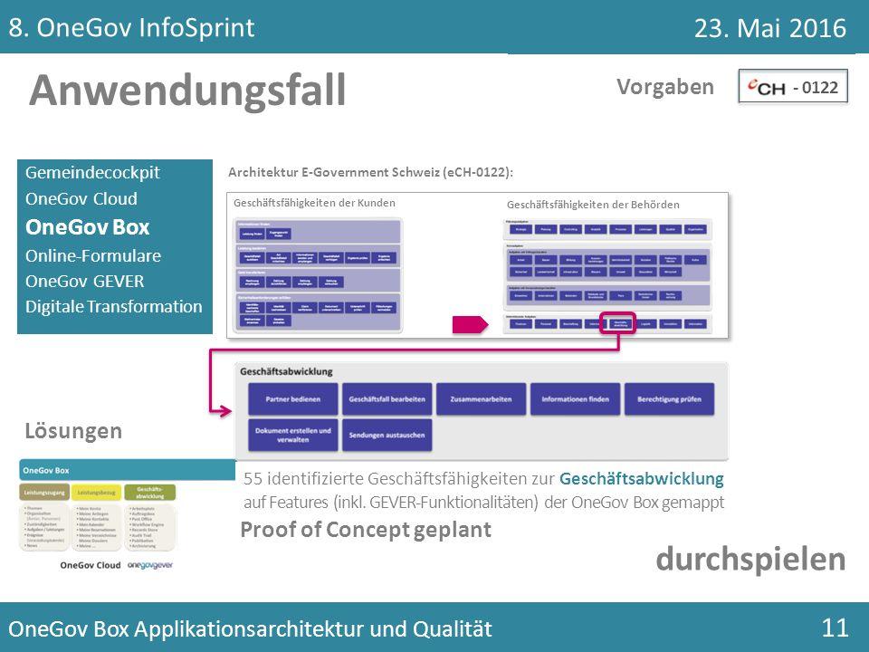 Gemeindecockpit OneGov Cloud OneGov Box Online-Formulare OneGov GEVER Digitale Transformation Anwendungsfall... Vorgaben - 0122 Architektur E-Governme