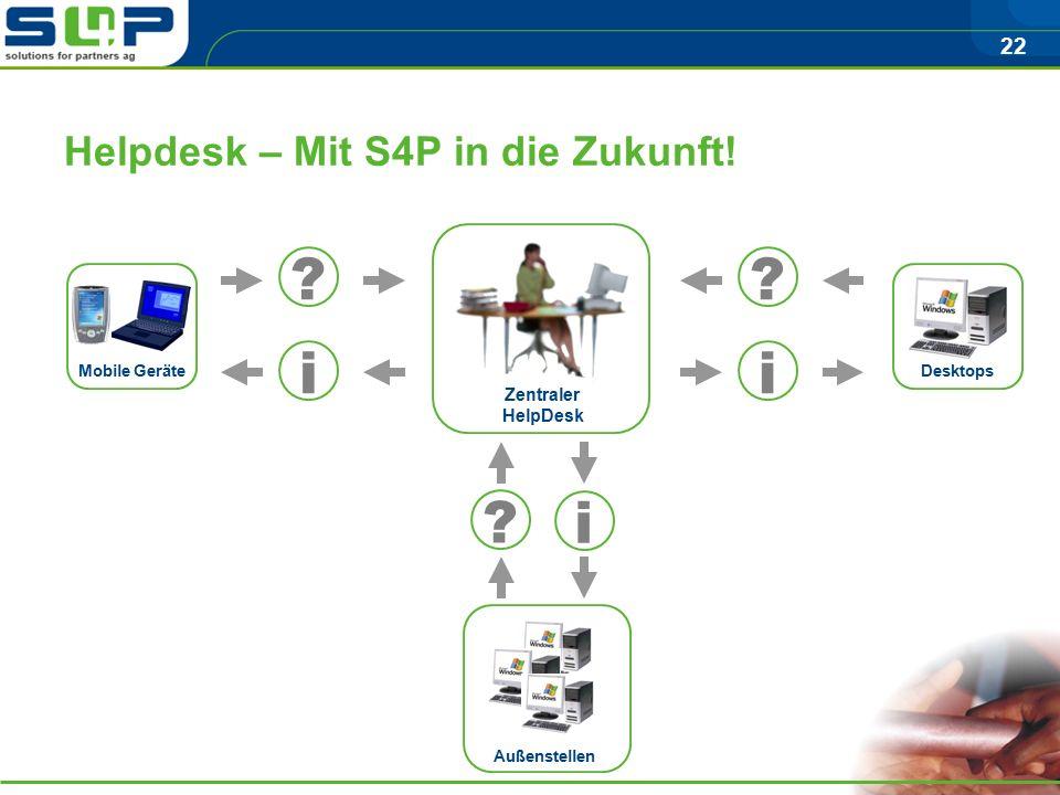 22 Helpdesk – Mit S4P in die Zukunft.Mobile Geräte Desktops .
