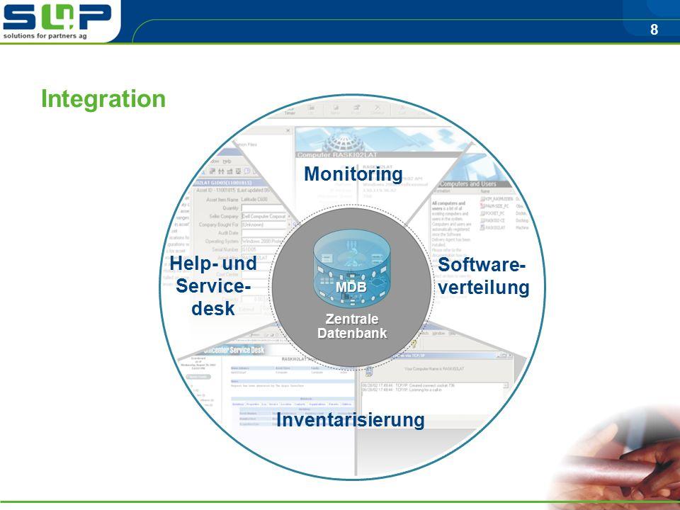 8 Zentrale Datenbank Zentrale Datenbank MDB Integration Monitoring Software- verteilung Inventarisierung Help- und Service- desk