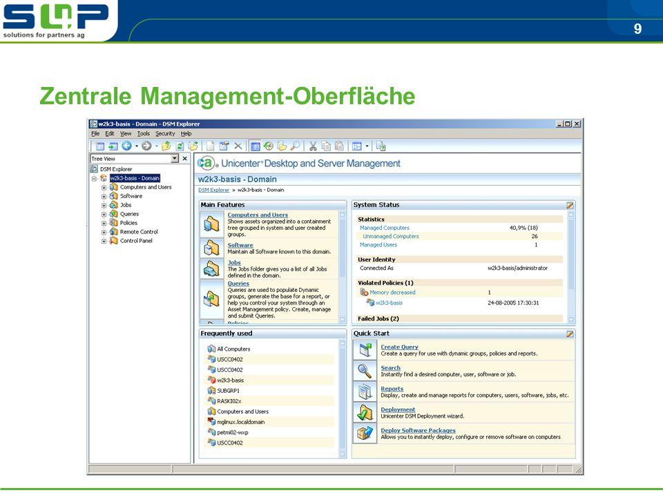 9 Zentrale Management-Oberfläche