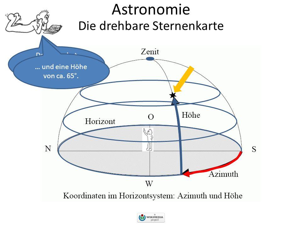 Astronomie Die drehbare Sternenkarte Der Stern hat also ein Azimut von ca. 70°… … und eine Höhe von ca. 65°.
