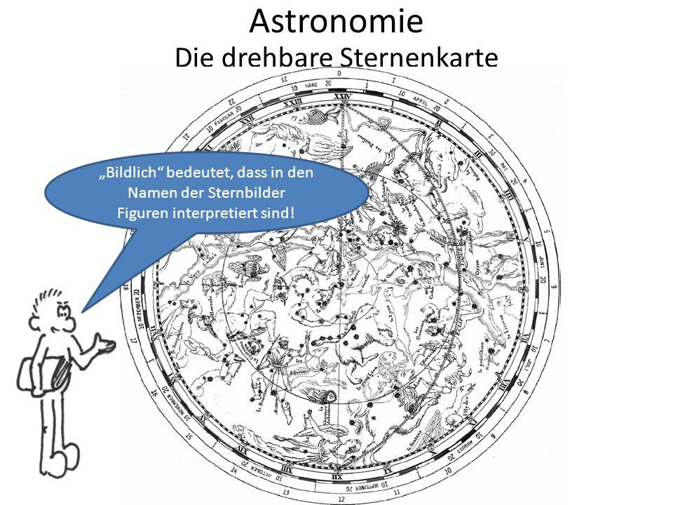 """Astronomie Die drehbare Sternenkarte """"Bildlich bedeutet, dass in den Namen der Sternbilder Figuren interpretiert sind!"""