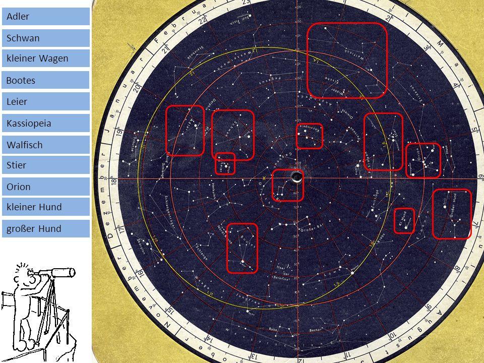 Astronomie Die drehbare Sternenkarte kleiner Wagen Bootes Adler Schwan Leier Kassiopeia Walfisch Stier Orion kleiner Hund großer Hund