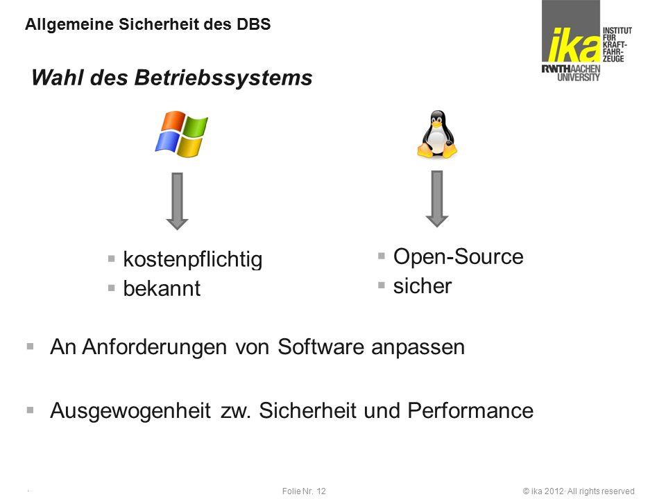 © ika 2012· All rights reservedFolie Nr. 12 · Allgemeine Sicherheit des DBS  An Anforderungen von Software anpassen  Ausgewogenheit zw. Sicherheit u