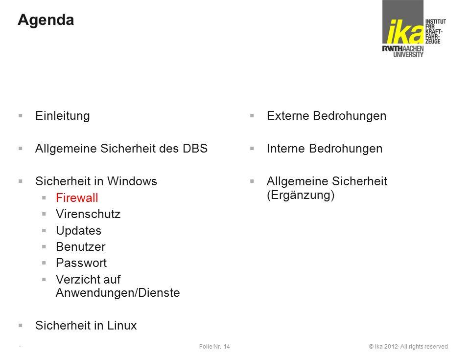 © ika 2012· All rights reservedFolie Nr. 14 · Agenda  Einleitung  Allgemeine Sicherheit des DBS  Sicherheit in Windows  Firewall  Virenschutz  U