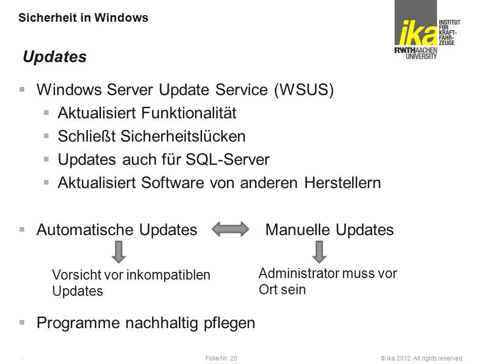 © ika 2012· All rights reservedFolie Nr. 20 · Sicherheit in Windows  Windows Server Update Service (WSUS)  Aktualisiert Funktionalität  Schließt Si