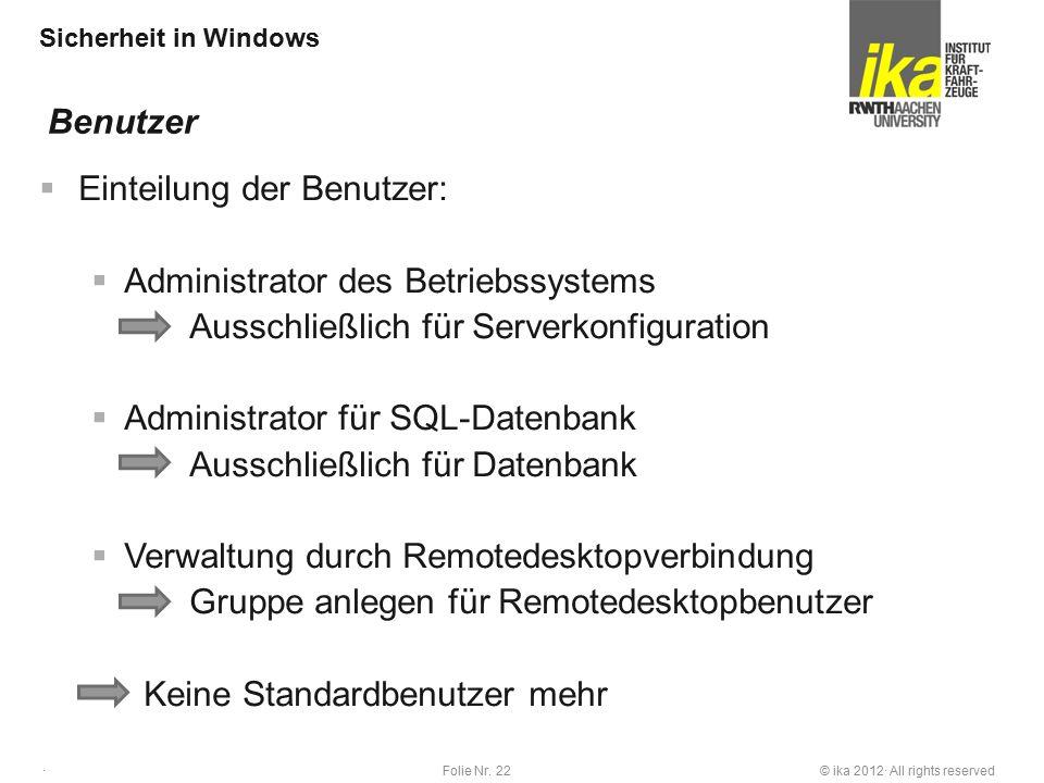 © ika 2012· All rights reservedFolie Nr. 22 · Sicherheit in Windows  Einteilung der Benutzer:  Administrator des Betriebssystems Ausschließlich für
