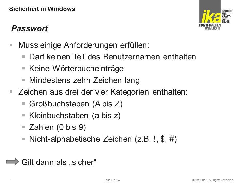 © ika 2012· All rights reservedFolie Nr. 24 · Sicherheit in Windows  Muss einige Anforderungen erfüllen:  Darf keinen Teil des Benutzernamen enthalt