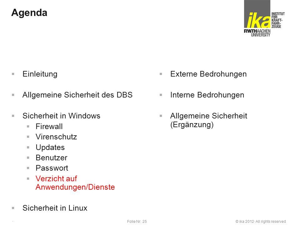 © ika 2012· All rights reservedFolie Nr. 25 · Agenda  Einleitung  Allgemeine Sicherheit des DBS  Sicherheit in Windows  Firewall  Virenschutz  U