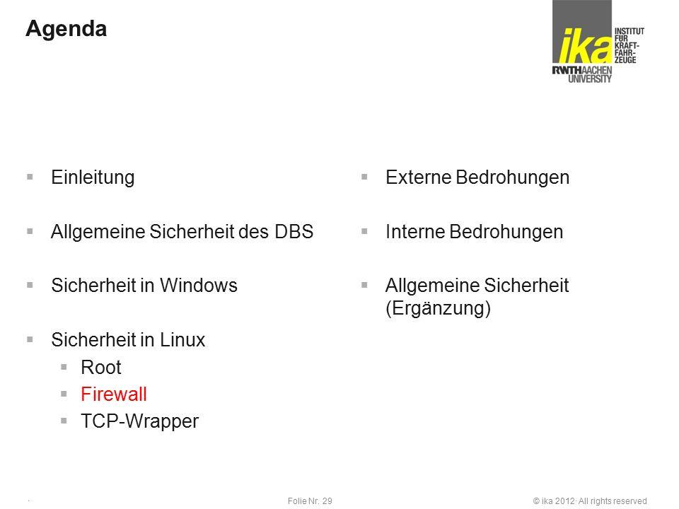 © ika 2012· All rights reservedFolie Nr. 29 · Agenda  Einleitung  Allgemeine Sicherheit des DBS  Sicherheit in Windows  Sicherheit in Linux  Root