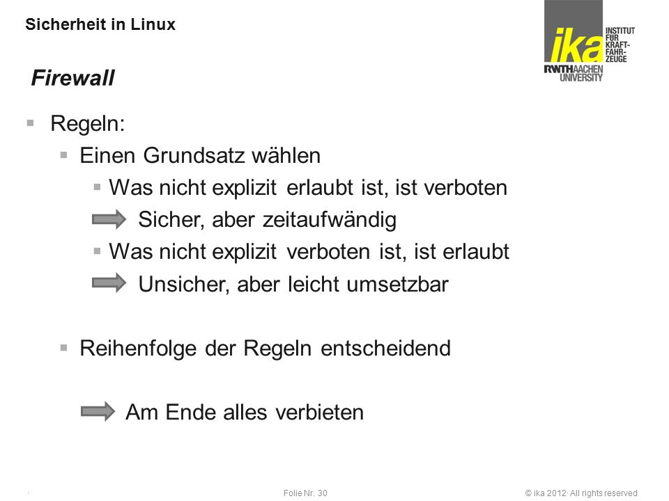 © ika 2012· All rights reservedFolie Nr. 30 · Sicherheit in Linux  Regeln:  Einen Grundsatz wählen  Was nicht explizit erlaubt ist, ist verboten Si