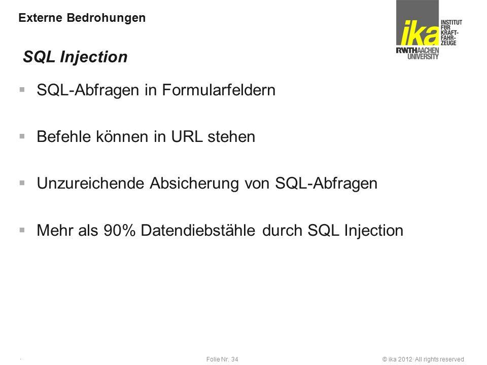 © ika 2012· All rights reservedFolie Nr. 34 · Externe Bedrohungen  SQL-Abfragen in Formularfeldern  Befehle können in URL stehen  Unzureichende Abs