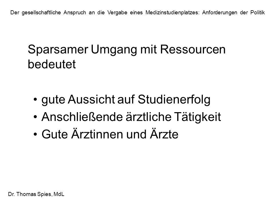Der gesellschaftliche Anspruch an die Vergabe eines Medizinstudienplatzes: Anforderungen der Politik Dr. Thomas Spies, MdL Sparsamer Umgang mit Ressou