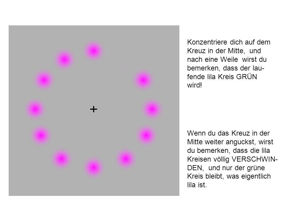 Konzentriere dich auf dem Kreuz in der Mitte, und nach eine Weile wirst du bemerken, dass der lau- fende lila Kreis GRÜN wird.