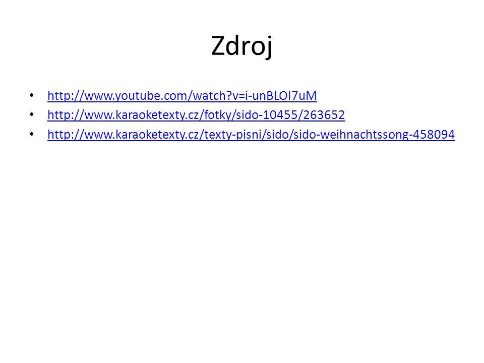 Zdroj http://www.youtube.com/watch v=i-unBLOI7uM http://www.karaoketexty.cz/fotky/sido-10455/263652 http://www.karaoketexty.cz/texty-pisni/sido/sido-weihnachtssong-458094