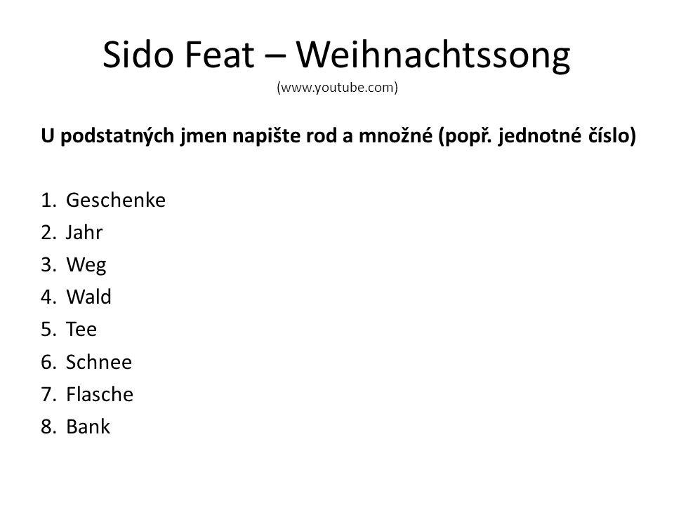 Sido Feat – Weihnachtssong (www.youtube.com) U podstatných jmen napište rod a množné (popř.
