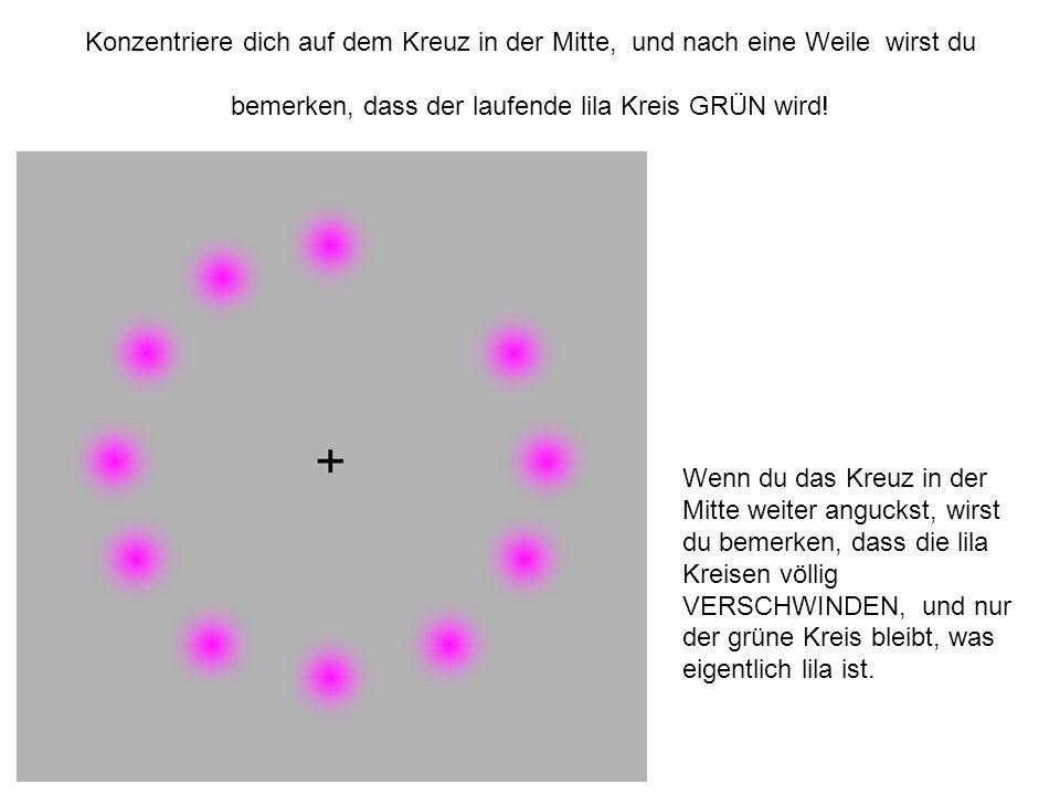 Konzentriere dich auf dem Kreuz in der Mitte, und nach eine Weile wirst du bemerken, dass der laufende lila Kreis GRÜN wird.