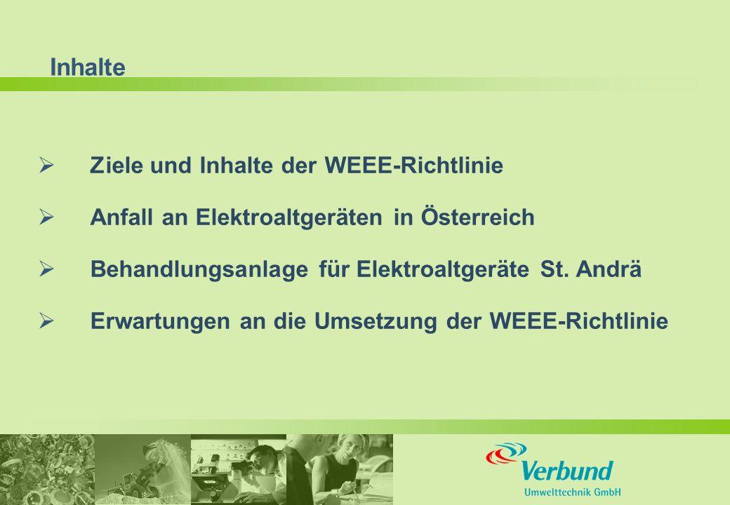 Inhalte  Ziele und Inhalte der WEEE-Richtlinie  Anfall an Elektroaltgeräten in Österreich  Behandlungsanlage für Elektroaltgeräte St.