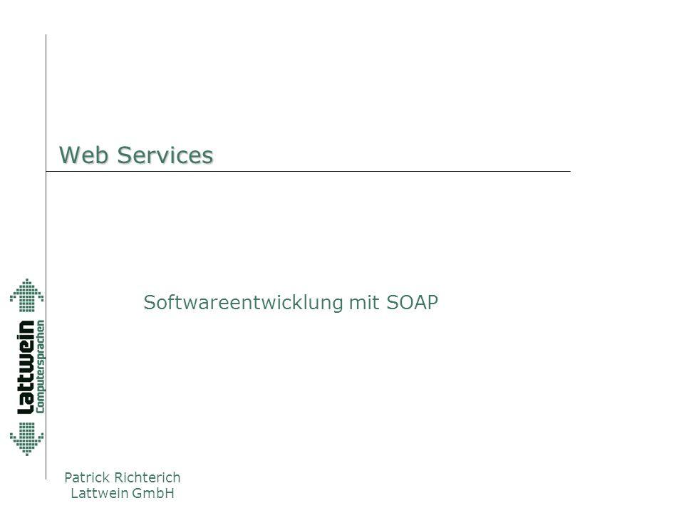 Agenda  Einführung anhand eines Beispiels  Erklärung der Technik  Web Services  WSDL  SOAP  UDDI  Beispiel  Fazit  Lattwein & SOAP