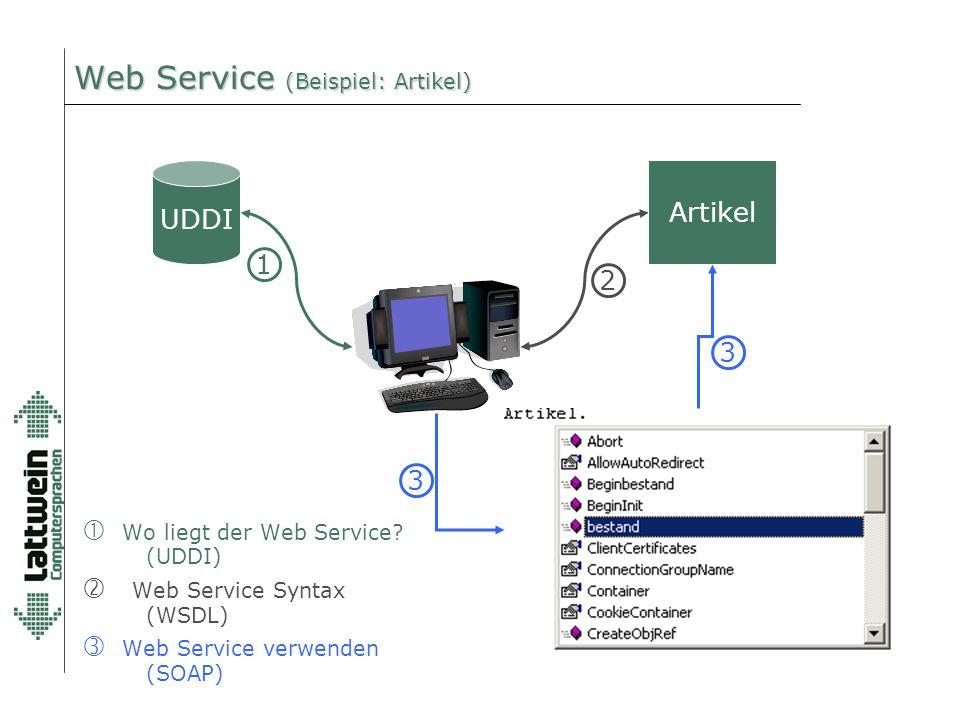 Web Service (Beispiel: Artikel) UDDI 1 2 3  Wo liegt der Web Service? (UDDI) '  Web Service Syntax (WSDL)  Web Service verwenden (SOAP) 3 Artikel