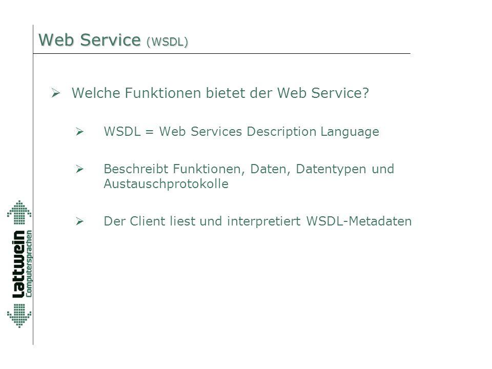 Web Service (WSDL)  WSDL = Web Services Description Language  Beschreibt Funktionen, Daten, Datentypen und Austauschprotokolle  Der Client liest und interpretiert WSDL-Metadaten  Welche Funktionen bietet der Web Service